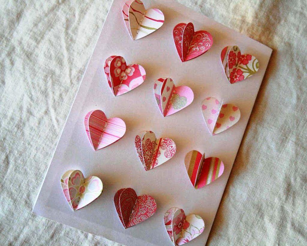 открытки из бумаг сердечки