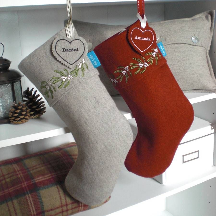 embroidered mistletoe christmas stocking by kate sproston design notonthehighstreetcom - Embroidered Christmas Stocking