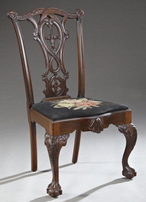 George II Style Carved Mahogany Side Chair, late 19th : Lot 569