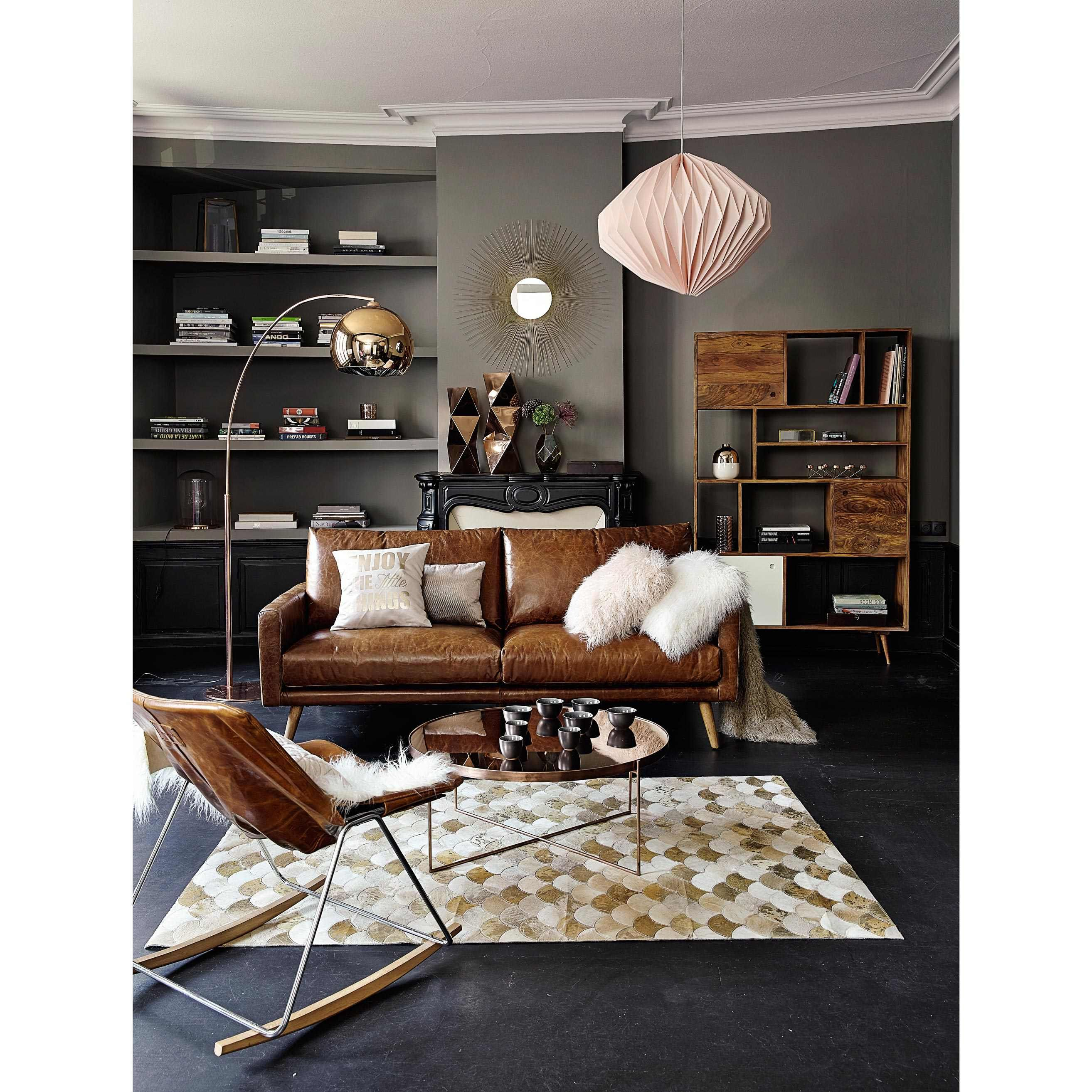 Canap 3 places en cuir marron cognac hooper maisons du for Canape loft maison du monde
