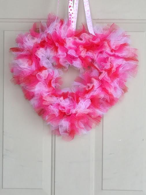 Tulle Heart Wreath Valentines Day By Adoorableforyou