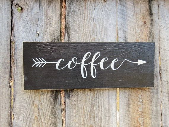 rustic home decor kitchen decor sign coffee sign coffee arrow sign