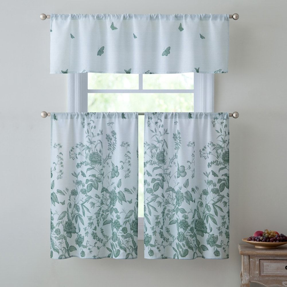 Victoria estela piece kitchen curtain set sage valance x