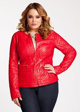 e9b6cc8db2e Ashley Stewart  Quilted Faux Leather Jacket