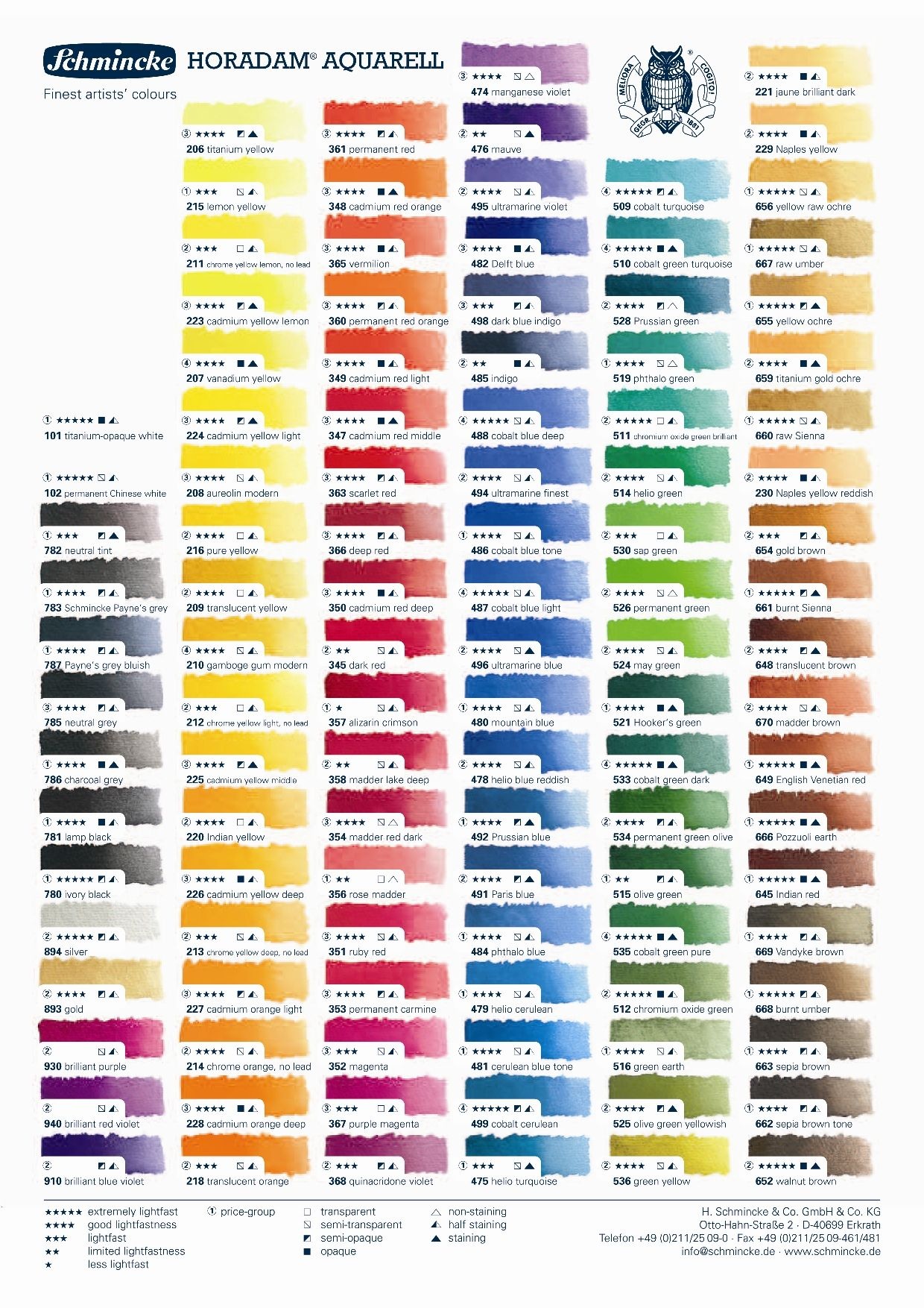 Horadam Auqarell Colour Chart Jpg 1240 1754 Paint Color Chart