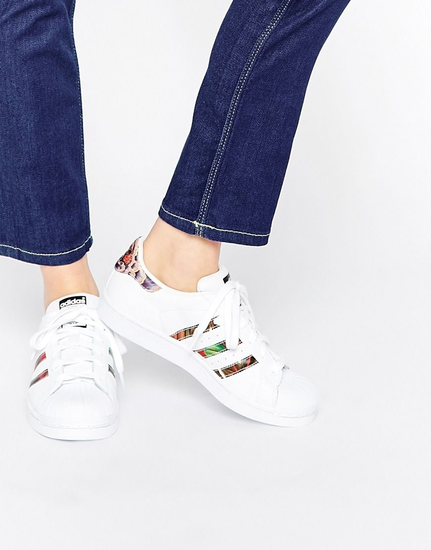 adidas Originals White Superstar With Floral Trim Trainers at asos.com