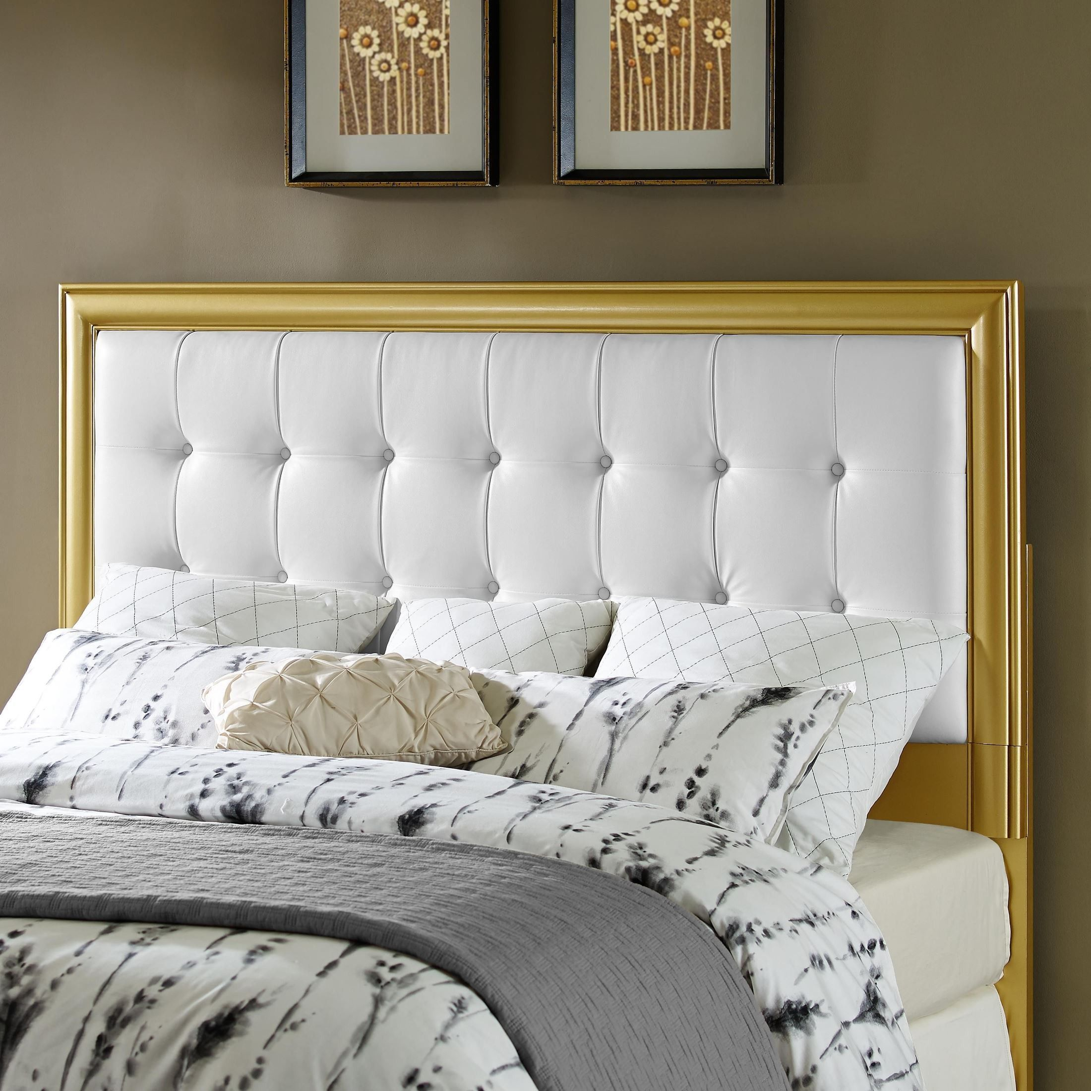 King Cal King Gold Frame Upholstered Headboard White Upholstered Headboard Upholstered Headboard Headboard