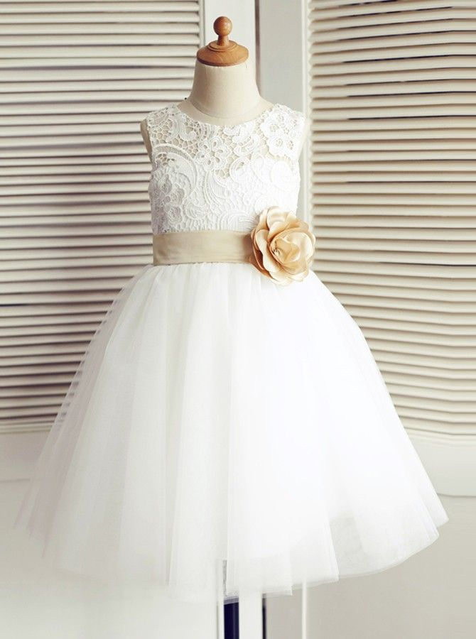 e198956a1c56d Beautiful Round Neck Tulle Short Flower Girl Dress with Lace, Cheap Belt  A-Line Flower Girl Dresses