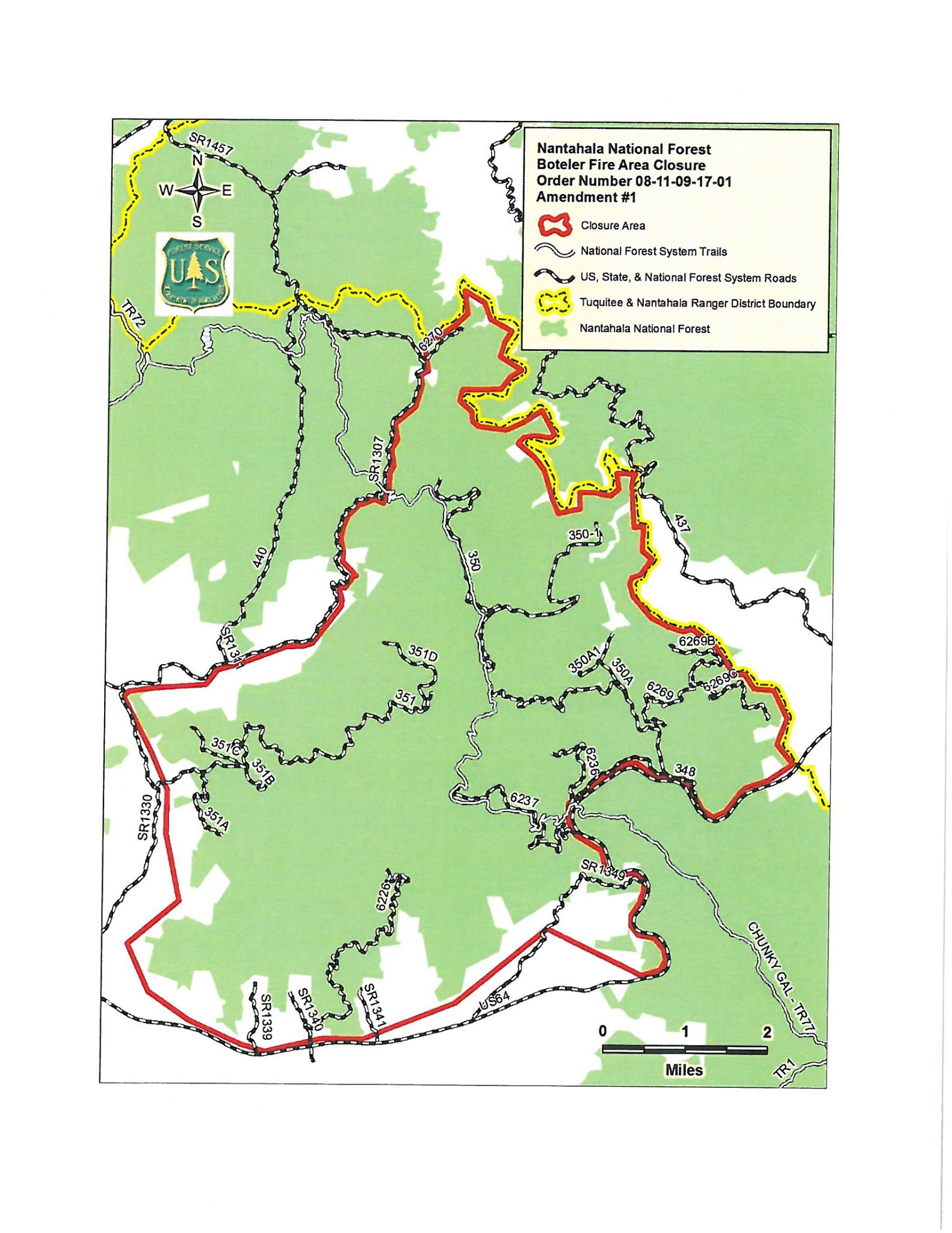 Nantahala National Forest Closure Area Map - Areas closed to ...