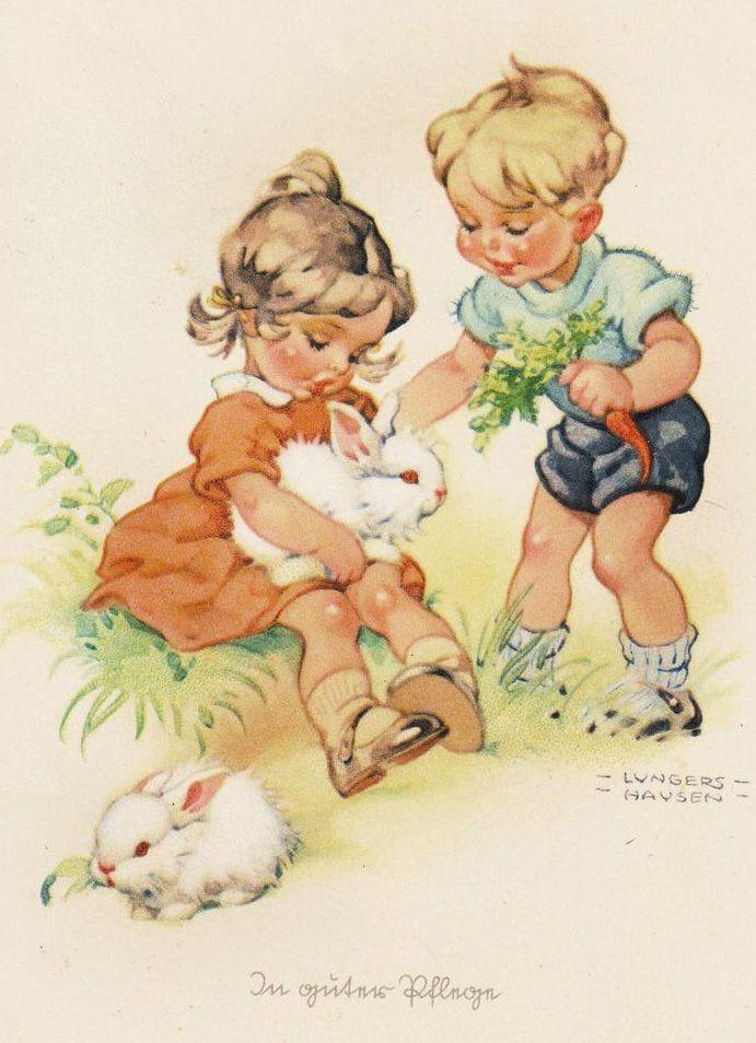 rabbit prints Vintage