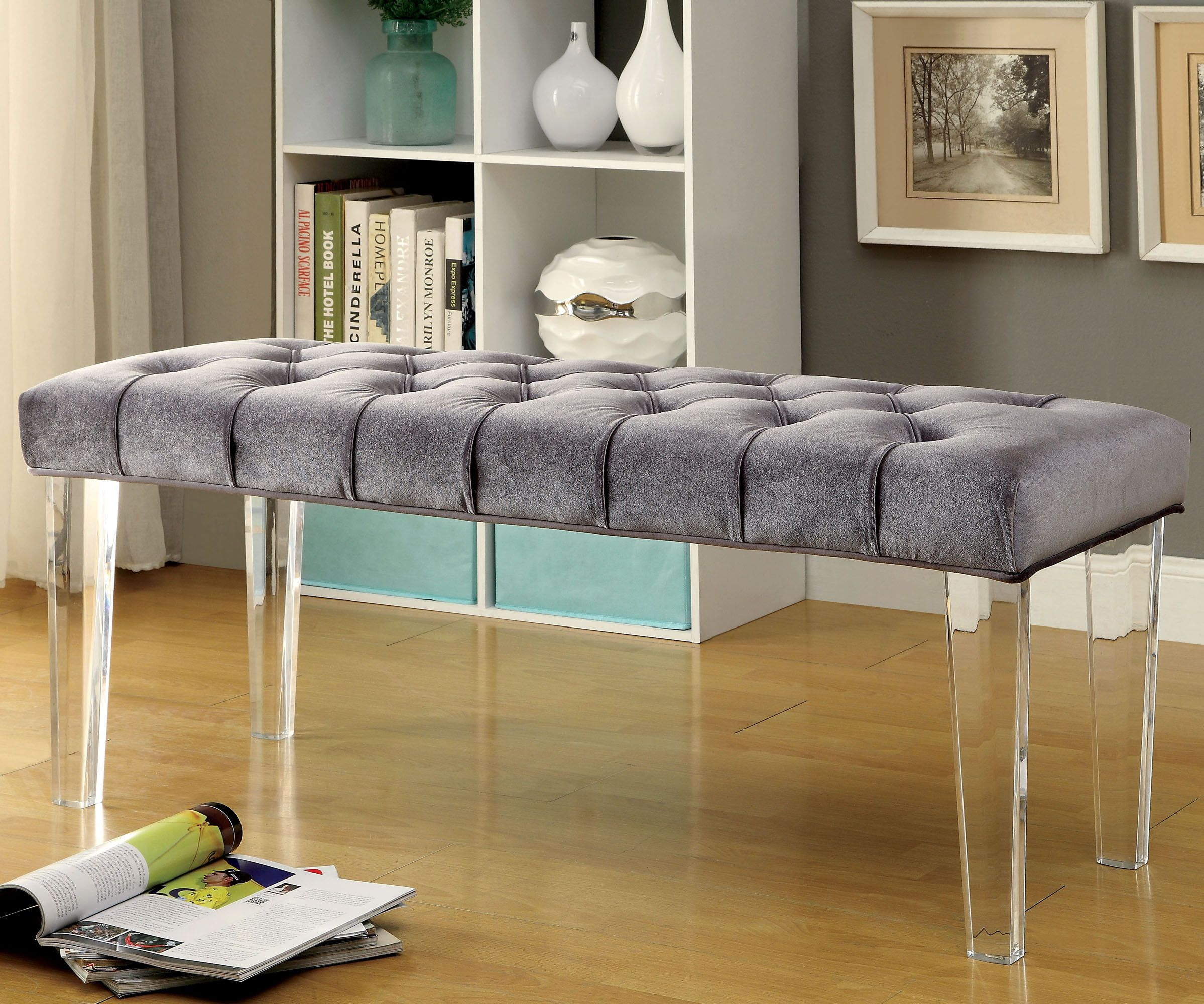 Blue Modern Ultra Tufted Accent Bench Fabric Tufted Button Plush Bench