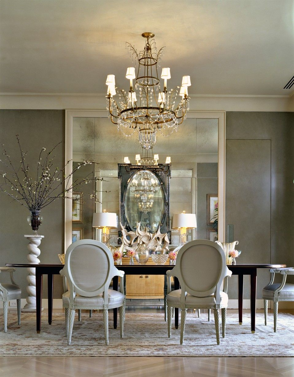 Silver White Dining Room Elegant Exceptional Design Gray Walls Mirrors Walls  Chandelier Black Accents Decorating Home Decor Ideas Renovating Living Rooms  ...