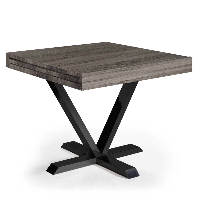 Table Extensible Bois Gris Et Metal Noir Handle 90 180 Cm En 2020 Avec Images Table Extensible Table Extensible Bois Table De Salle A Manger Extensible