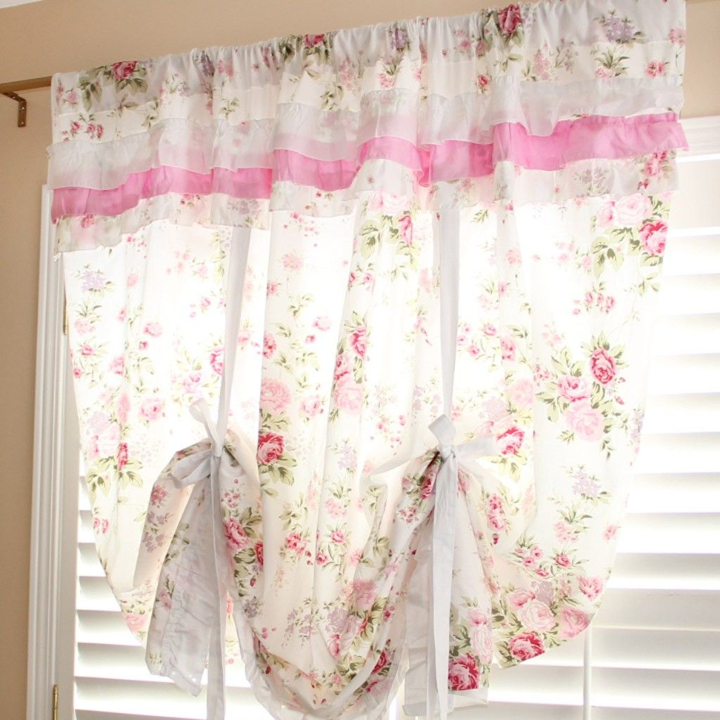 White Rose Romance Tie Up Curtain Clearance Sale