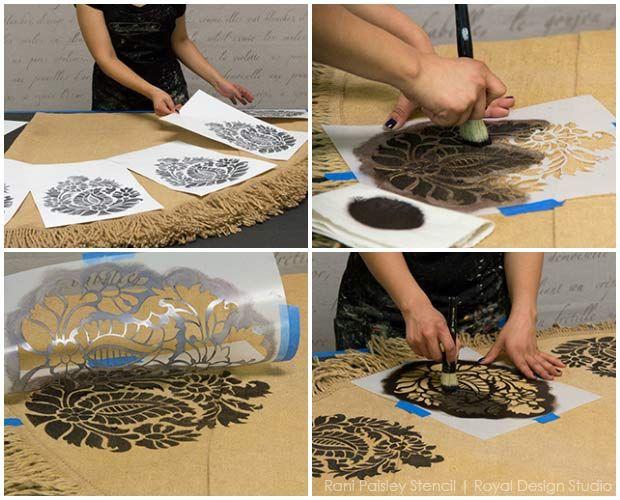 How To Chalk Paint U0026 Stencil Burlap Tablecloths Project