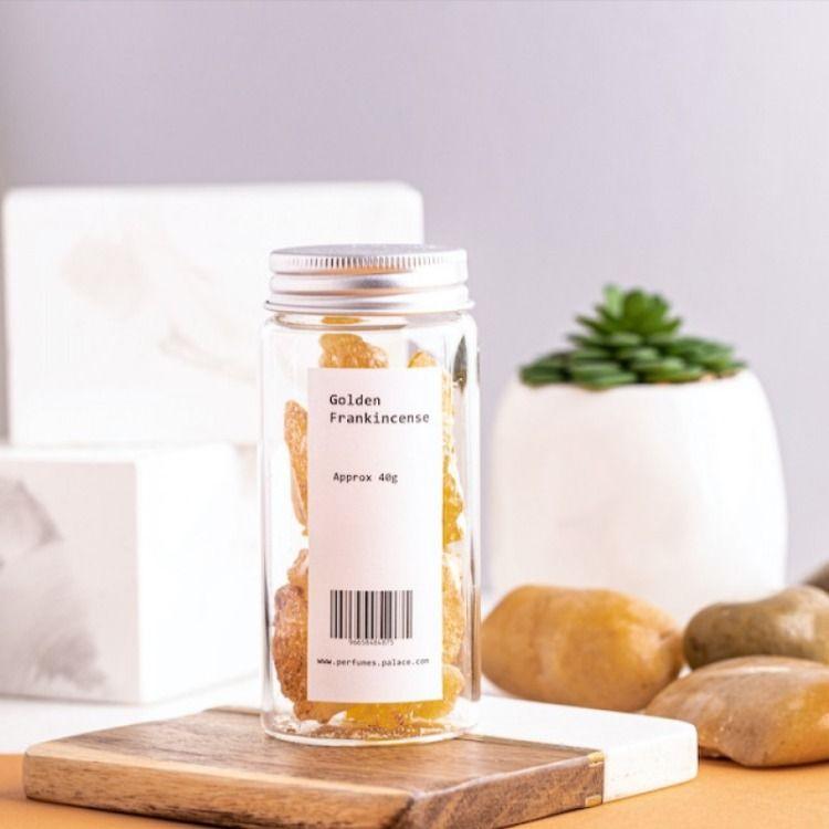 اجود انواع اللبان لبان ذهبي فاخر للأكل متجر قصر الطيب Candle Jars Frankincense Jar