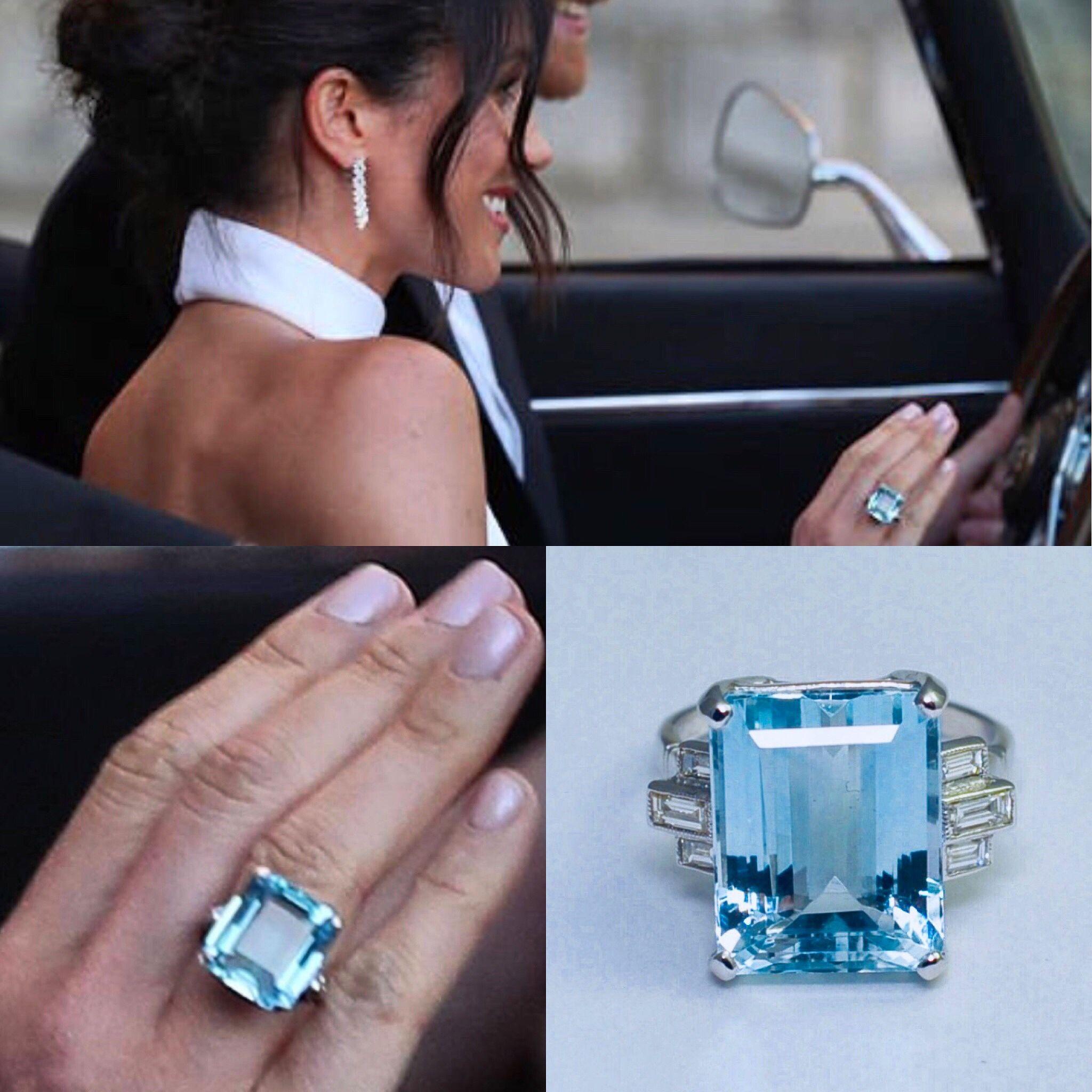 Meghan wearing Princess Diana's aquamarine ring