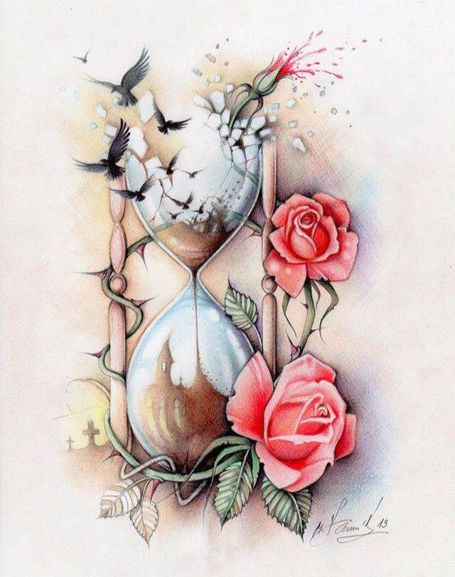 Sanduhr tattoo  Vergehende Zeit, Sanduhr mit Rosen. | Tattoo ink. | Pinterest ...