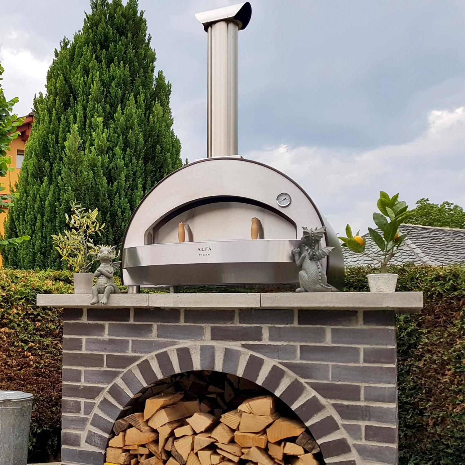 Alfa 4 Pizze 31 Inch Outdoor Countertop Wood Fired Pizza Oven