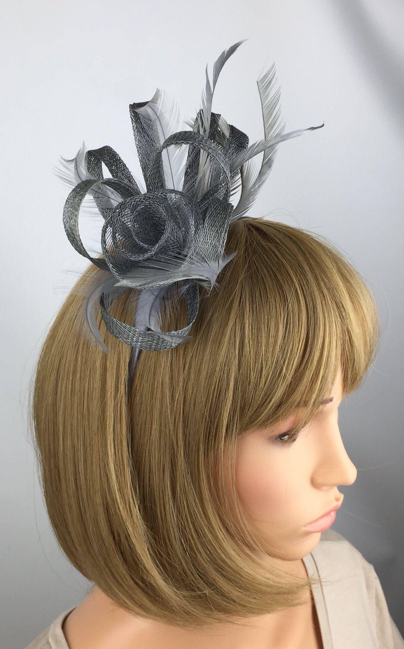 Silver Fascinator Grey Fascinator Gray Wedding Plantinium Pewter Hatinator Ascot Ladies Day Mother of the Bride Groom Occasion #fascinatorstyles