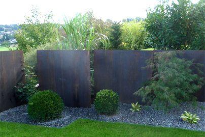 Metal Wall Outdoor Gardens Modern Garden Hardscape