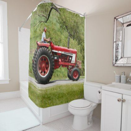 Red Tractor Shower Curtain Zazzle Com Diy Shower Curtain Red