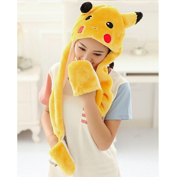 Pocket Monster Pikachu hat scarf and gloves all in one for girls ... 3071bbb597f