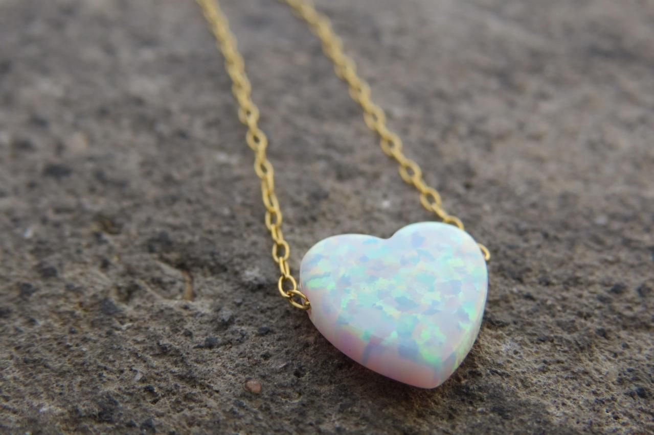 Heart necklace, Gold opal necklace, Heart jewelry, Bridesmaid