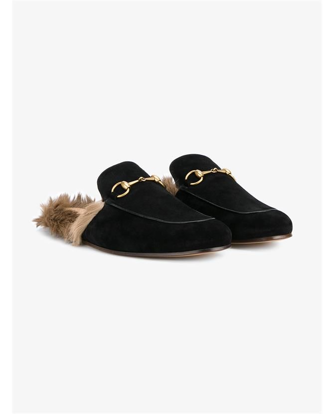 Gucci Suede And Fox Fur Slip On Loafers
