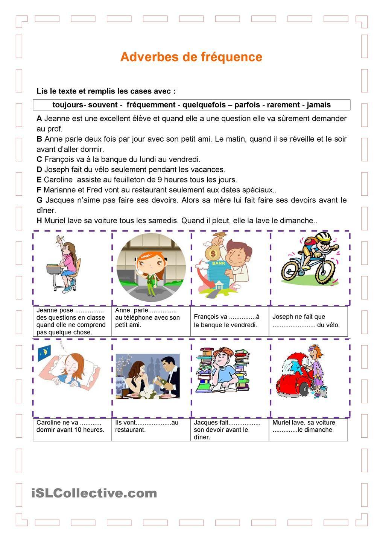 Adverbes de fréquence | Les adverbes, Exercices fle et Fiches pédagogiques