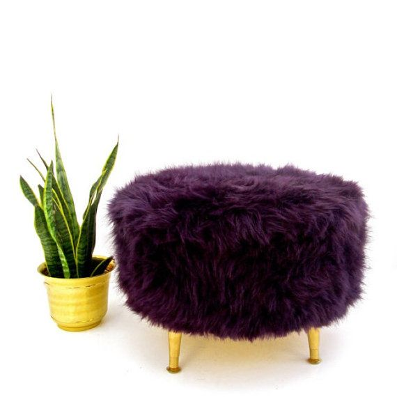 Strange Reserved Custom Large Aubergine Faux Fur Round Pouf Pdpeps Interior Chair Design Pdpepsorg