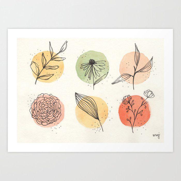 warm neutral florals Art Print by musebymej