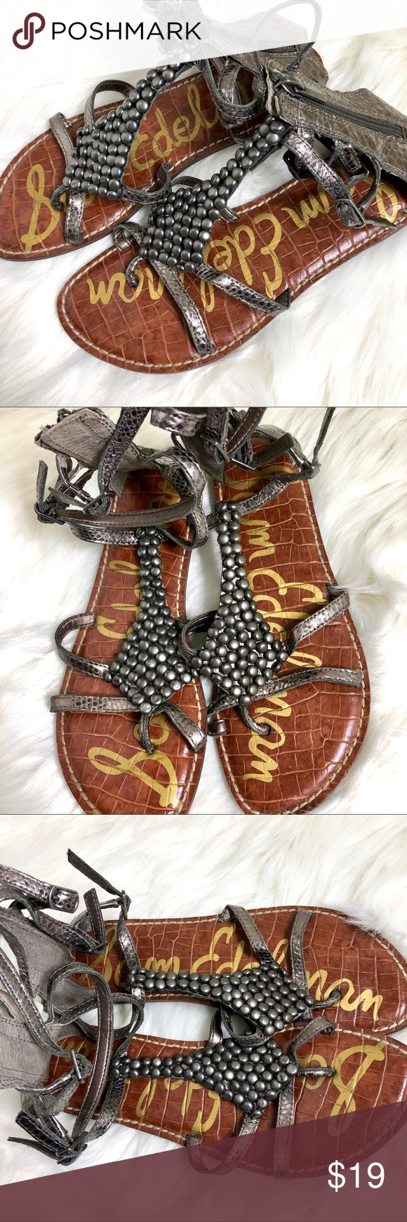 6 Ginger Sam Size Sandals Beaded Gladiator Edelman Hqrdctsx TFJK1c3l