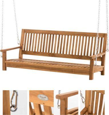 teakholz schaukel sitz bank massiv und wetterfest gartenbank zum aufh ngen mit ketten jetzt. Black Bedroom Furniture Sets. Home Design Ideas