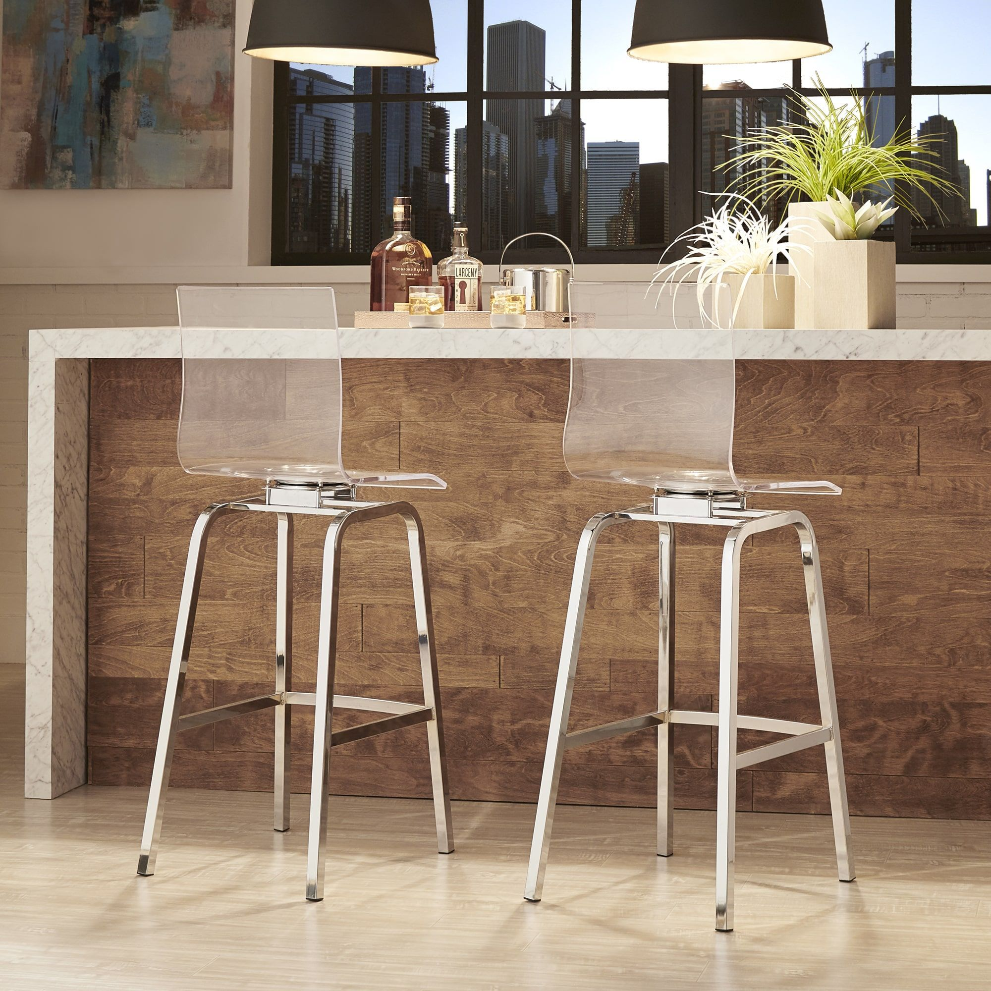 Inspire Q Miles Clear Acrylic Swivel Bar Stools Set Of 2 Chrome