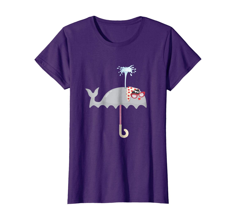 Funny Cute Umbrella Whale T-Shirt – Orca Beluga Whales Rain #cuteumbrellas