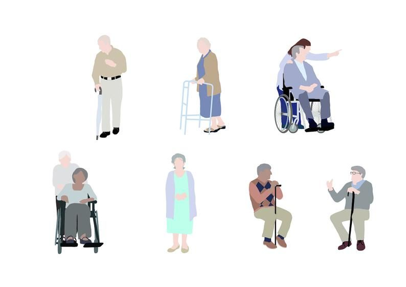 Flat Vector People Pack Elderly Clipart Ai Eps Png Human Person Seniors Old Folks Man Woman Illustration Cutout Visualization People Cutout People Png People Illustration