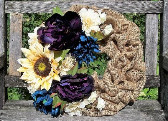 Fall Wreath. Sunflower, Peonies, Mums, etc. Rustic Decor, Wall... - Products #mumsetc