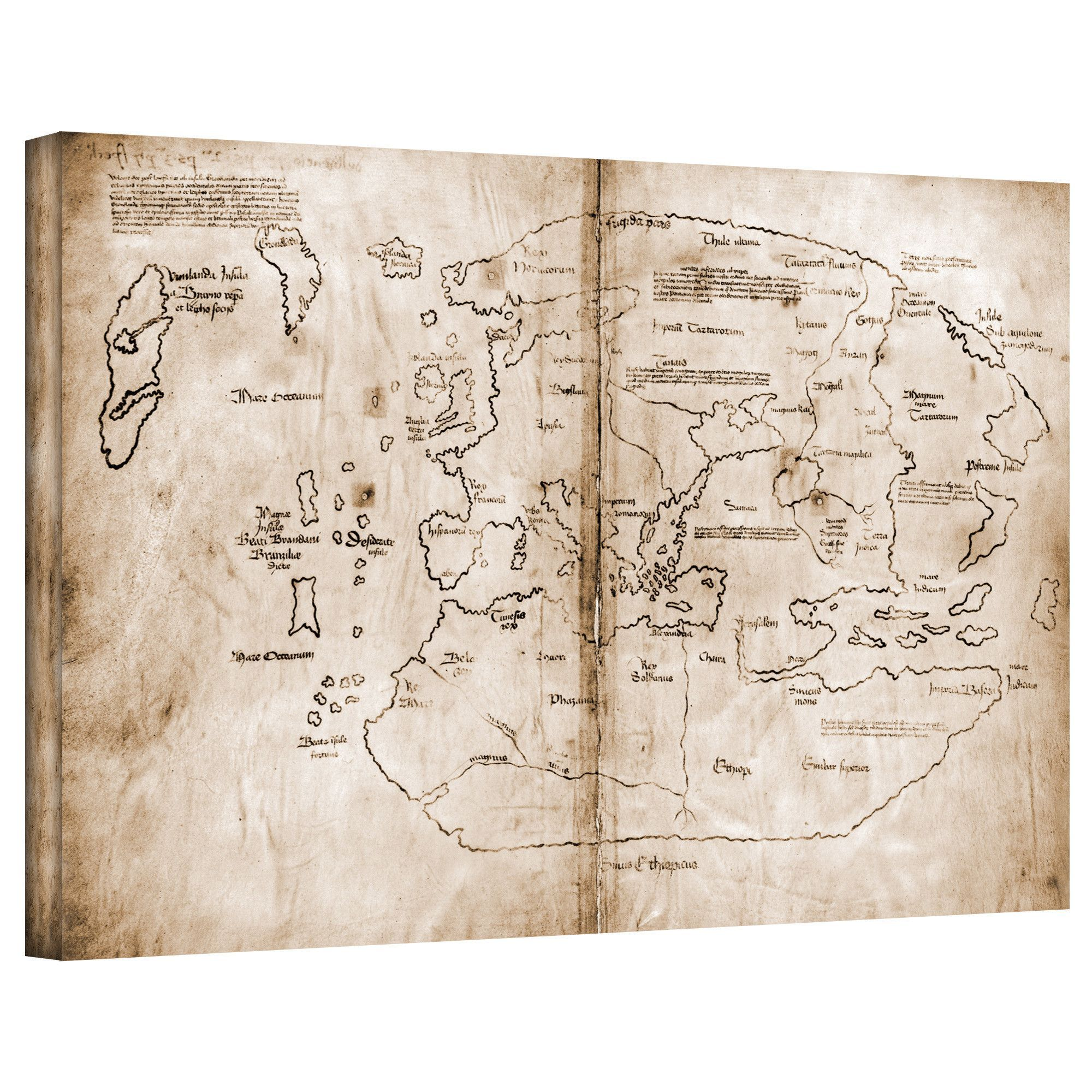 Antique Maps The Vinland Map Graphic Art On Wrapped Canvas