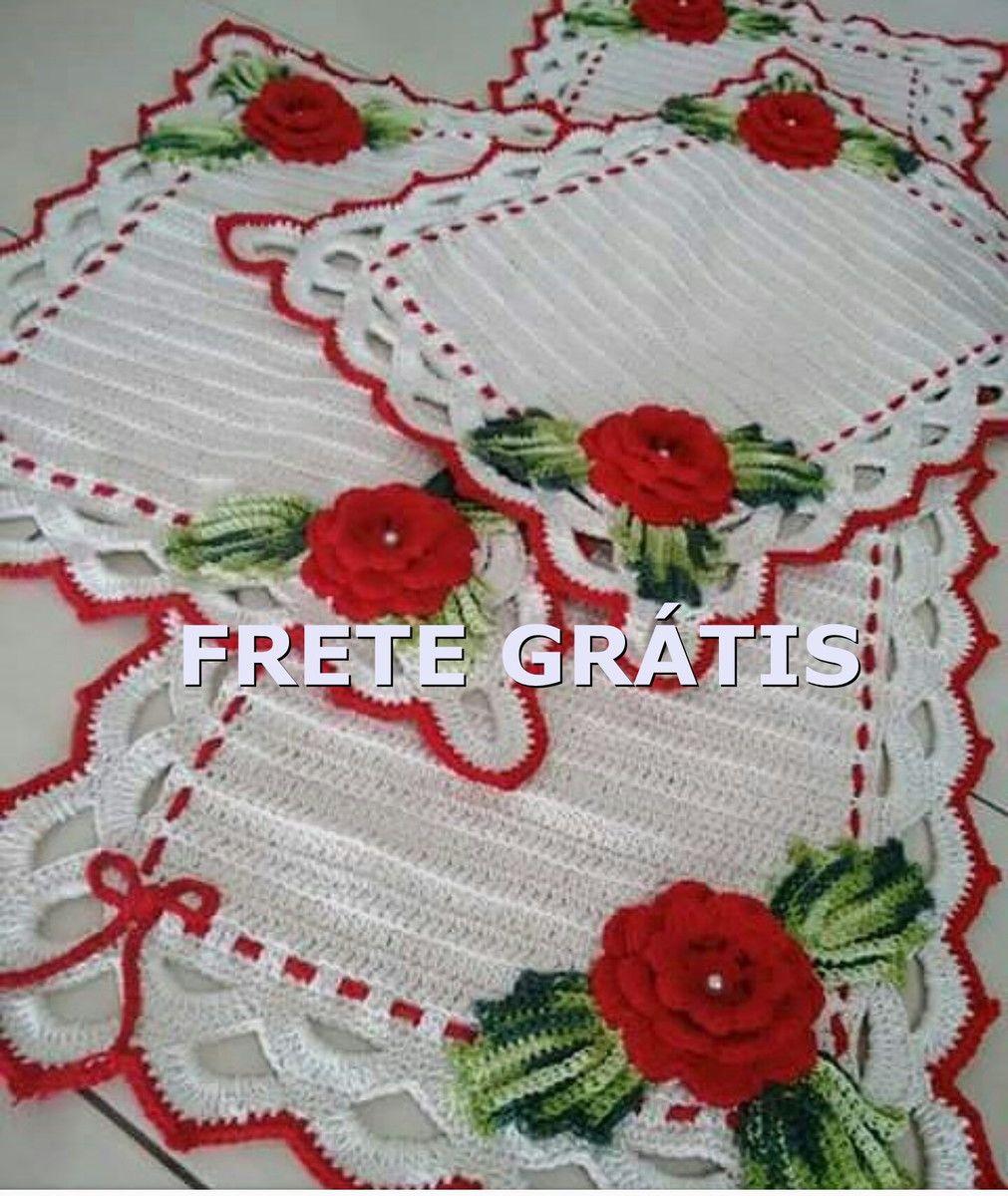 Jogo De Cozinha Croch Branco Com Rosas Vermelhas Pinterest