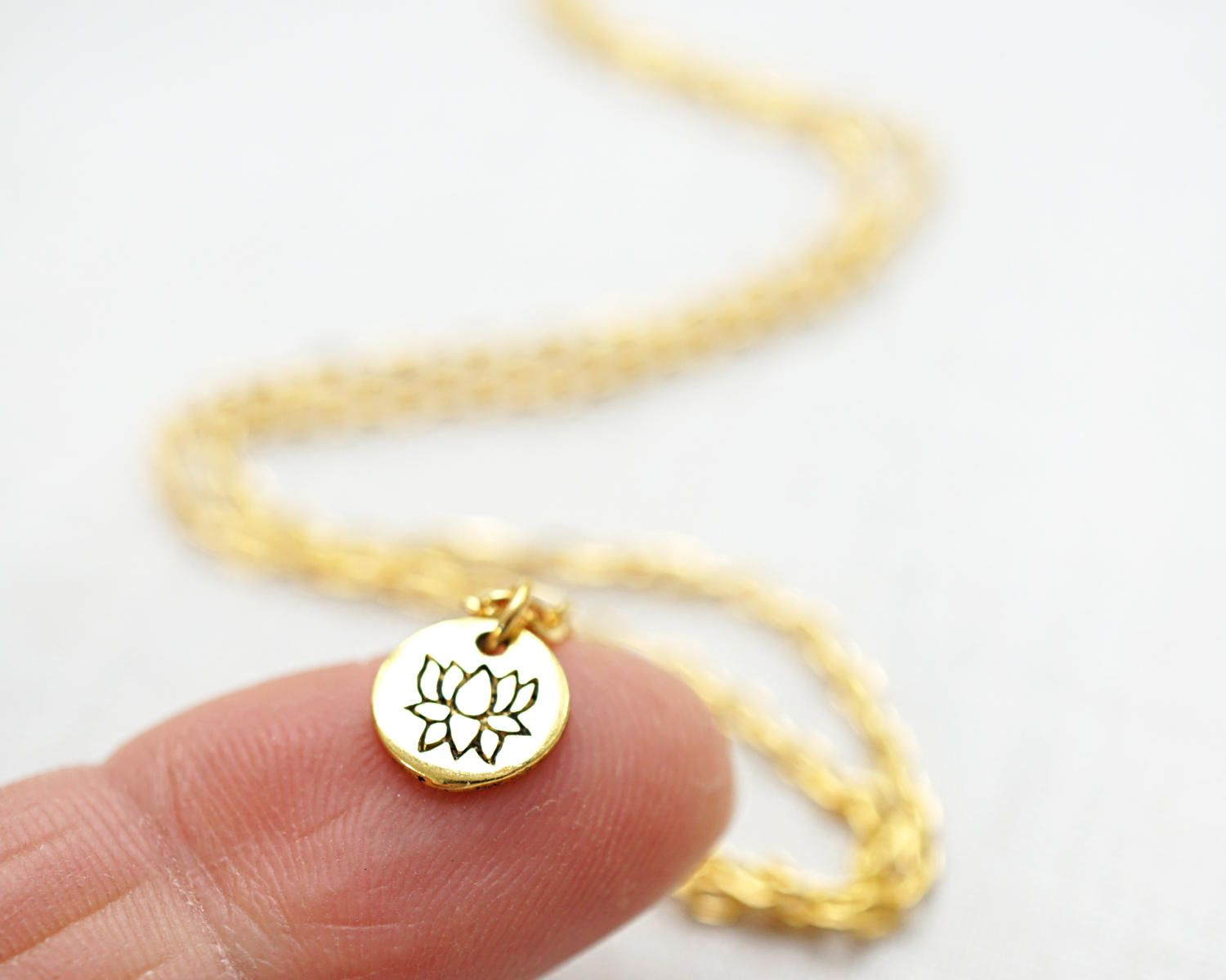 Jewelry Handmade Mini Gold Disk Necklace Tiny Gold Lotus Flower