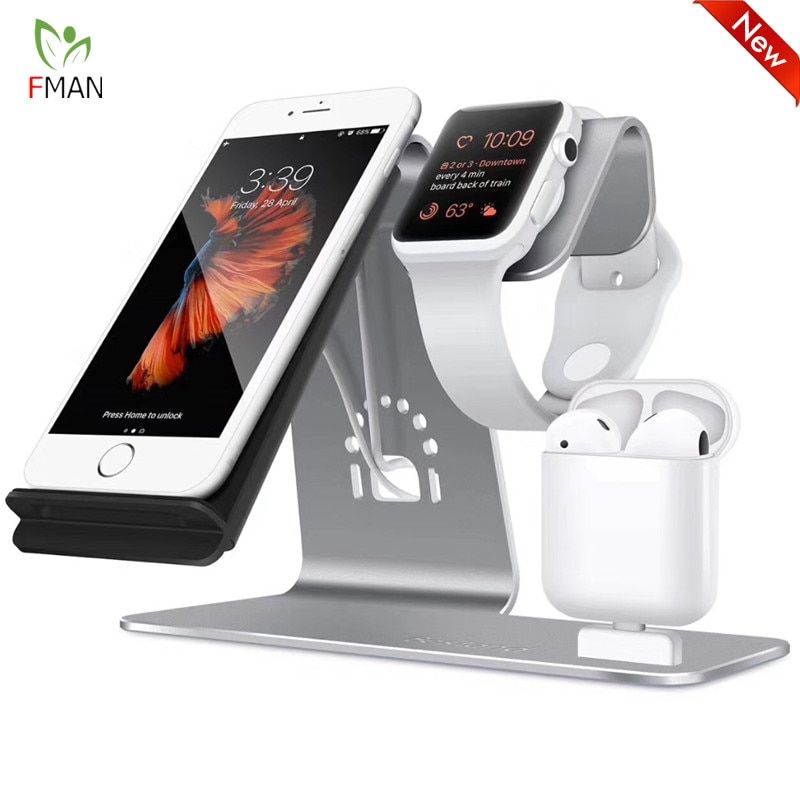 3 in 1 wireless charging station phone holder qi fast