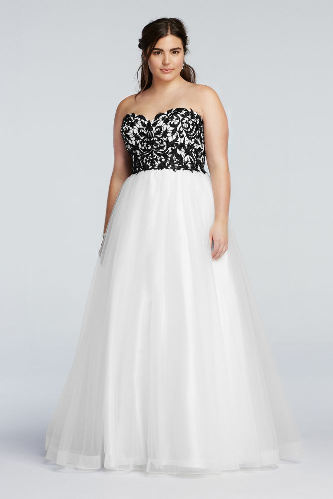 Plus Size Strapless Prom Dress with Tulle Ball Gown Skirt - Black ...