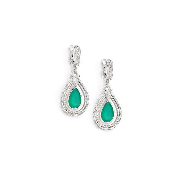 Judith Ripka Marina Green Chalcedony, White Sapphire & Sterling Silver... (€225) ❤ liked on Polyvore featuring jewelry, earrings, judith ripka, judith ripka earrings, green earrings, sterling silver drop earrings and white sapphire earrings