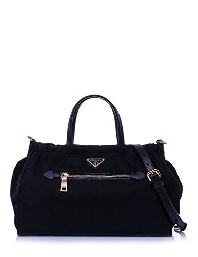 f53ceeddec3852 SALE PRICE - $1450 - Prada Women's Tessuto Nylon & Saffiano Leather Trim  Shoulder Tote Bag Black 1BA843