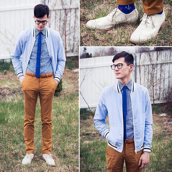 Topman Mustard Trousers, Calvin Klein Skinny, Joe Fresh Jacket, Rockport Cream Brogues
