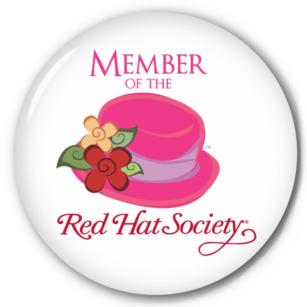 pink hat society | Red Hat Society Pin-Back Button #4 / Mirrors / Fridge Magnets