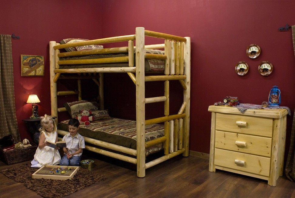 Lakeland Twin over Twin Log Bunk Bed is sturdy enough for