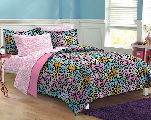 Pink Rainbow Leopard Teen Girl Bedding Twin Xl Full Queen Bed In A Bag Dorm Bed