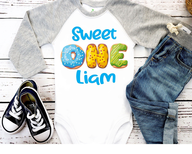 Cake Smash Boy/'s First Birthday Personalized 1st Birthday Donut Themed Birthday Shirt- Birthday Shirt Birthday Boy,